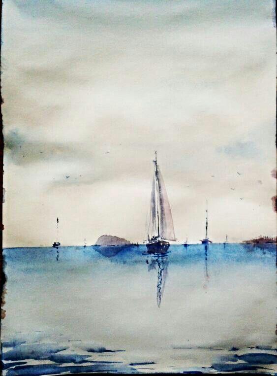 Watercolour Aquarelle Theme Boats Sea Exercise Author
