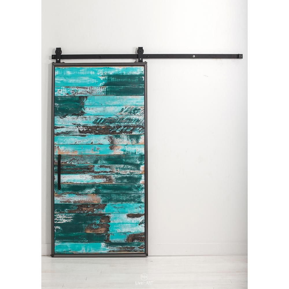Rustica Hardware 36 In. X 84 In. Mountain Modern Aqua Wood Barn Door With  Mountain Modern Sliding Door Hardware Kit At The Home Depot   Mobile