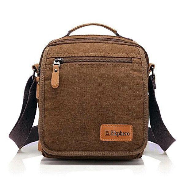 Ekphero Multifunctional Casual Canvas Crossbody Bag Vintage Retro Handbag  Zipper Shoulder Bag b5f5067f6b55b