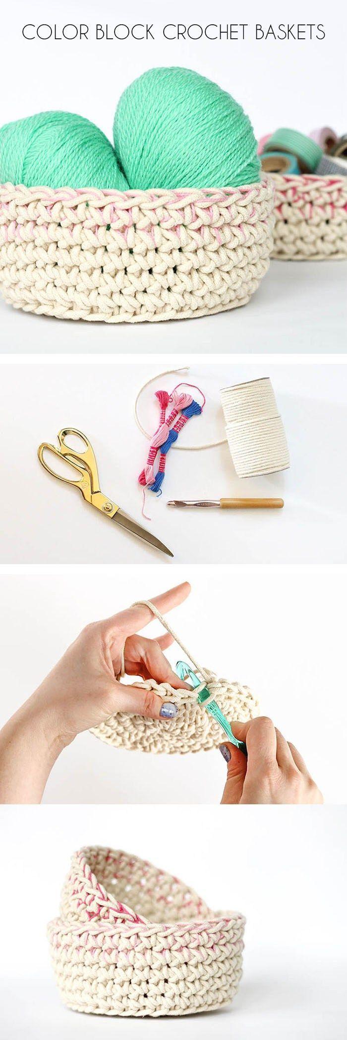 Color Block Crochet Baskets - Free Pattern | Trapillo, Ganchillo y ...