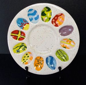 Awesome Deviled Egg Platter Painted At Paint Your Own Pottery In Oklahoma. Gallery