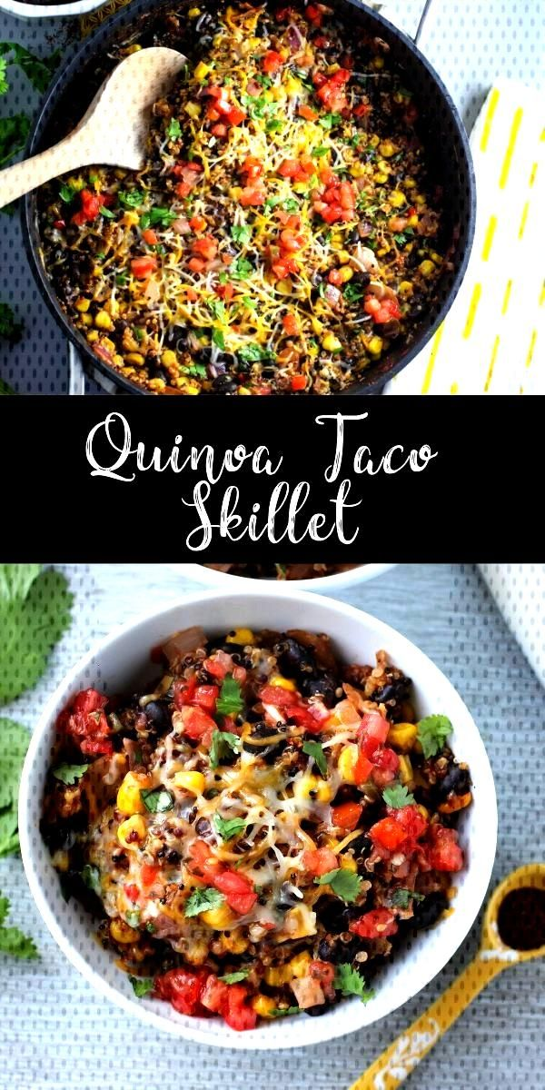 This quinoa enchilada skillet is loaded with veggies and tons of spices. Its a light and healthy o