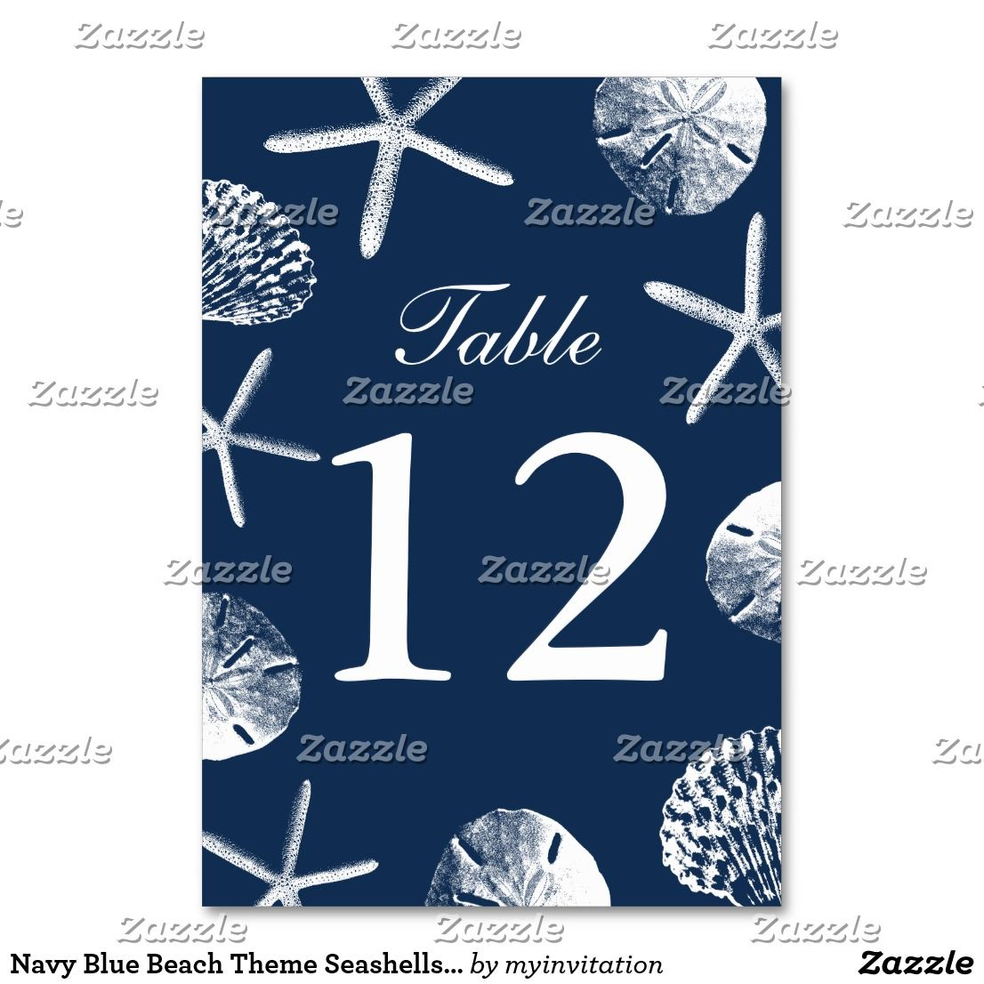 Navy Blue Beach Theme Seashells Table Numbers Zazzle Com With