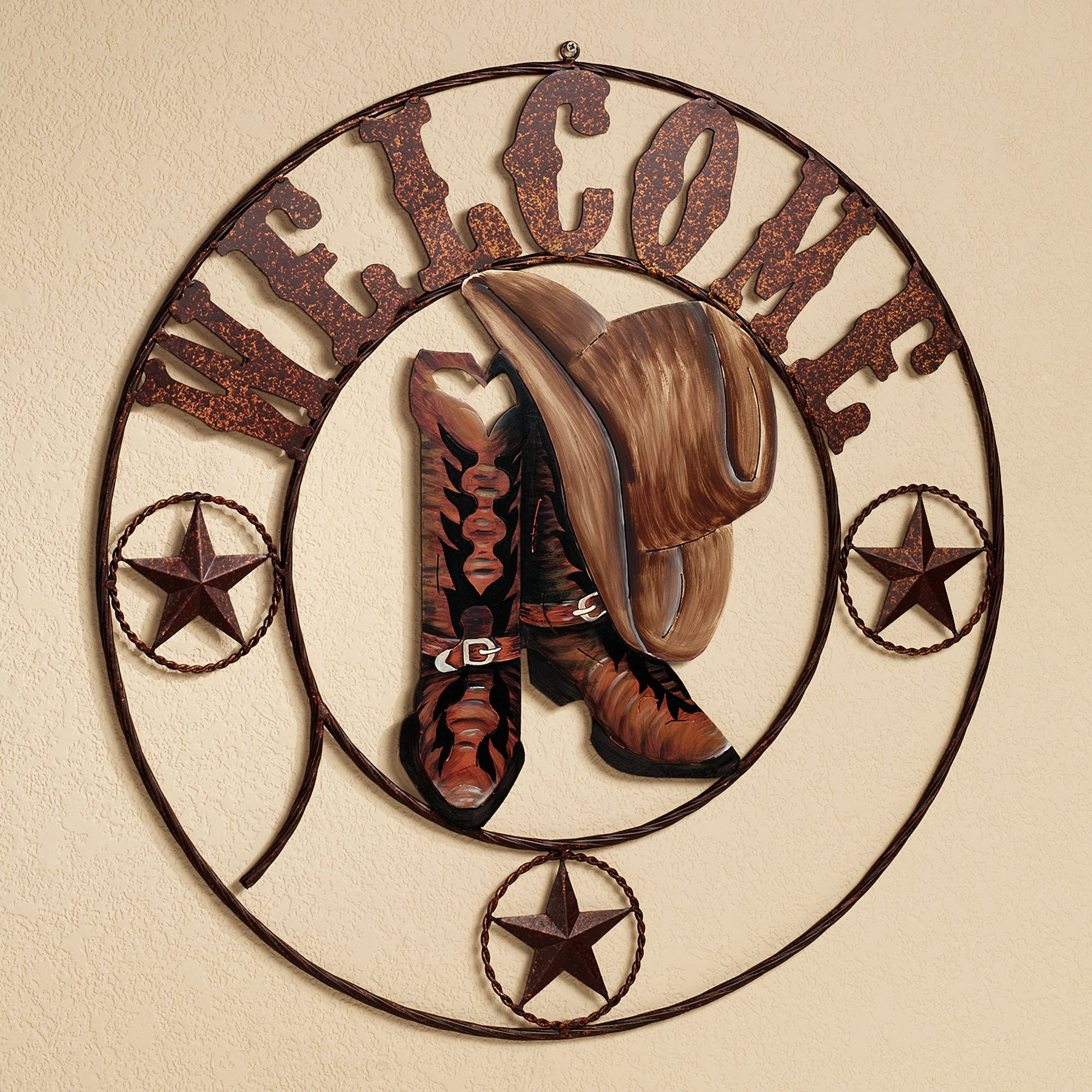 Rustic Metal Wall Art fulton cowboy welcome indoor outdoor metal wall art | metal wall
