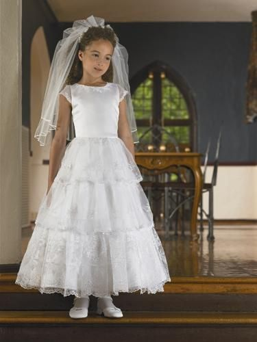Wholesale Cheap Pretty Layered Lace Short Sleeves Long Length First     Wholesale Cheap Pretty Layered Lace Short Sleeves Long Length First  Communion Dress Hot  BSFCD 030    Wedding Things and more   Pinterest    Communion and