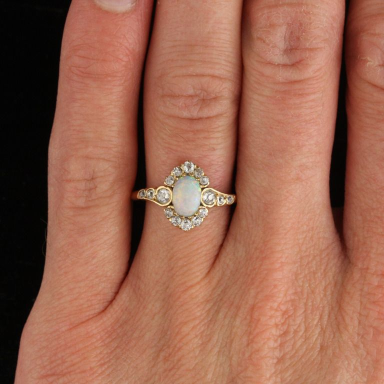 Art Nouveau Opal Diamond Gold Halo Ring 1stdibs Com Engagement Rings Opal Jewelry Rings Engagement Wedding Rings Vintage