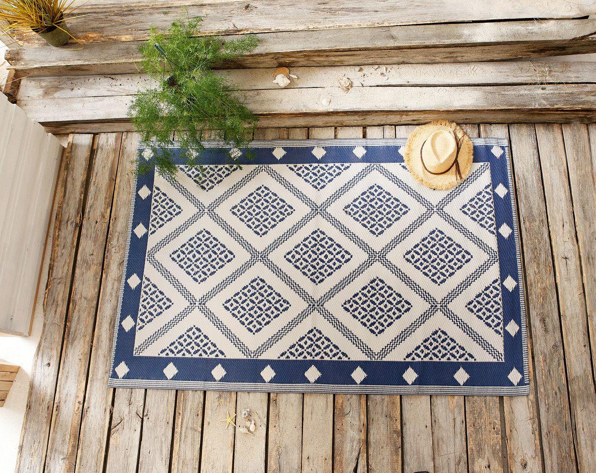 Widerstandsfahiger Polypropylen Teppich In Mediterranem Flair Dekorative Farbkombination In Beige Blau Abwaschba Outdoor Teppich Outdoor Polypropylen Teppich