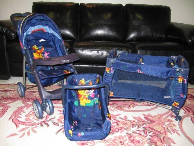Pooh Bear Play Stroller, Playpen & Car Carrier | Baby doll ...