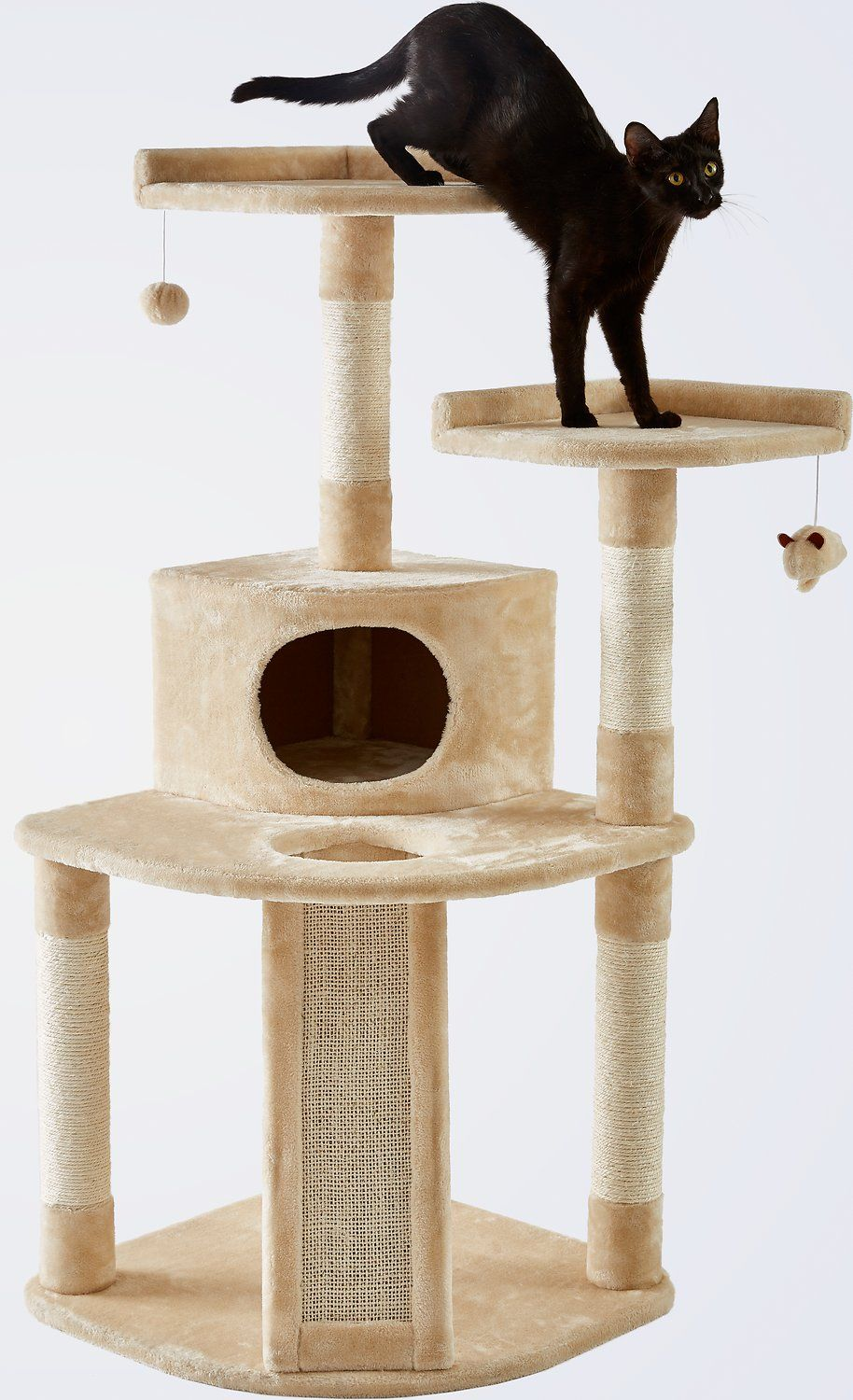 The Frisco 48Inch Large Base Cream Cat Tree is the