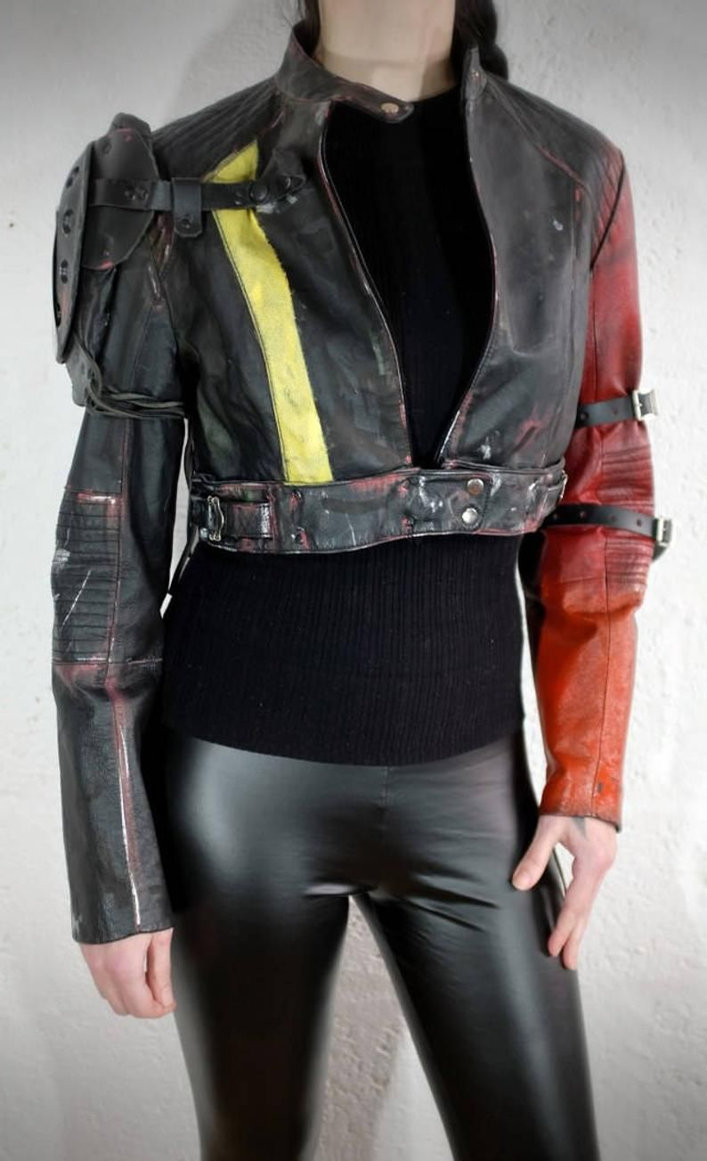 Cropped Leather Jacket Wasteland Mad Max Burning Man Post Etsy Cropped Leather Jacket Leather Jacket Cyberpunk Clothes [ 1303 x 794 Pixel ]
