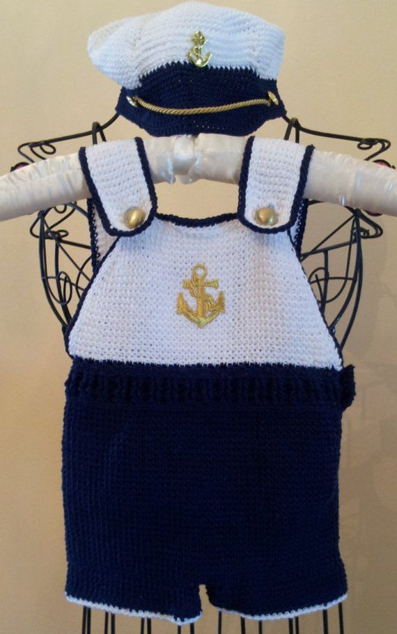 72e713f3dd27 Crocheted Nautical  Navy Ship Ahoy Boys Romper and Hat Made to order ...