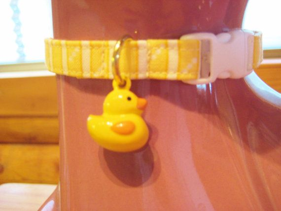Cat Collar -  Yellow Stripes with Yellow Duck Bell - Safety Release collar with Bell for your Special Kitty