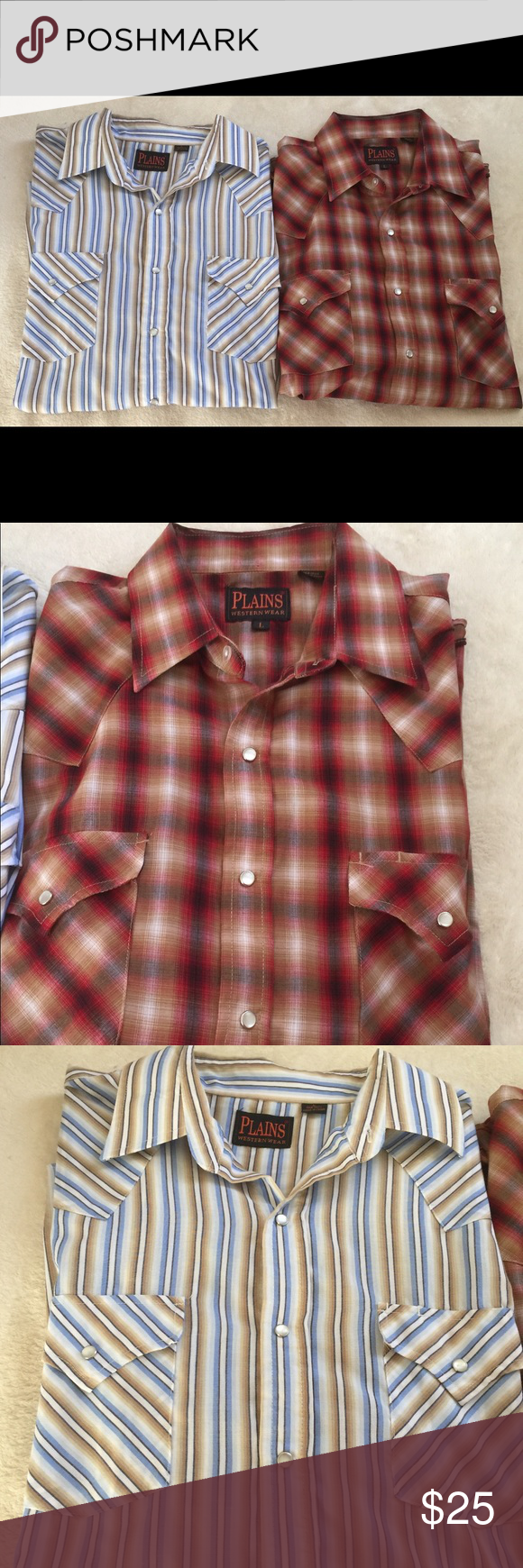 Lot of Two Men's PLAINS Western PEARL SNAP Shirts Lot of Two Men's PLAINS Western PEARL SNAP Short Sleeve Shirts Striped / Plaid  Size: Large  Materials: 65% Polyester & 35% Cotton   Gently Used; No Flaws  Comes from a clean and smoke free home.  Thanks for shopping! plains Shirts Casual Button Down Shirts