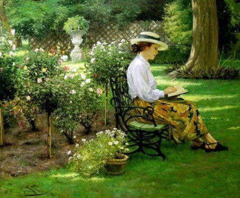 Find A Quiet Spot Reading Art Garden Painting Figure Painter