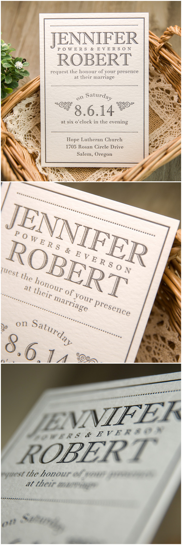 White and black simple but classic super thick letterpress wedding