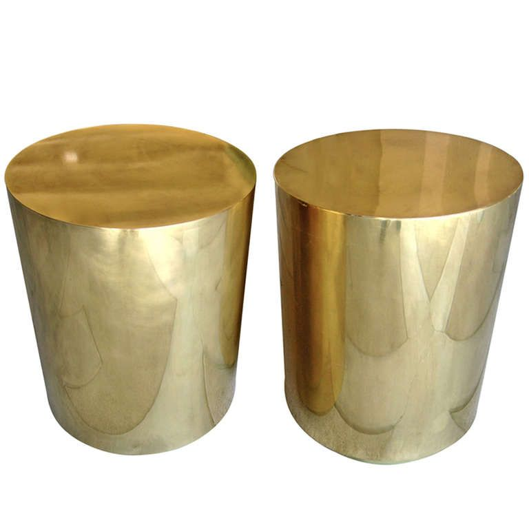 Attrayant A Pair Of Mastercraft Style Brass Clad Drum Side Tables C. 1970u0027s