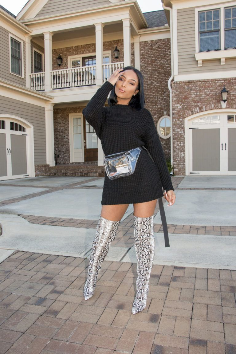 Issssssss That S Just My Boots Letting You Know We Re Here To Slayyyyy Honey For Today S Outfit Of Print Boots Outfit Thigh Boots Outfit Winter Boots Outfits [ 1152 x 768 Pixel ]