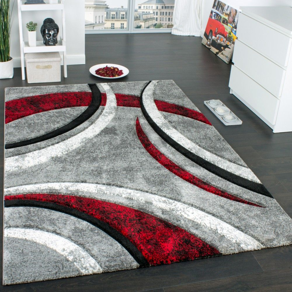 tapis design contours motif lign mouchet gris noir. Black Bedroom Furniture Sets. Home Design Ideas