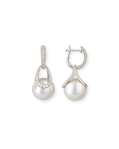 Belpearl Avenue 18K White Gold South Sea Pearl & Diamond Earrings 23hGwzFH