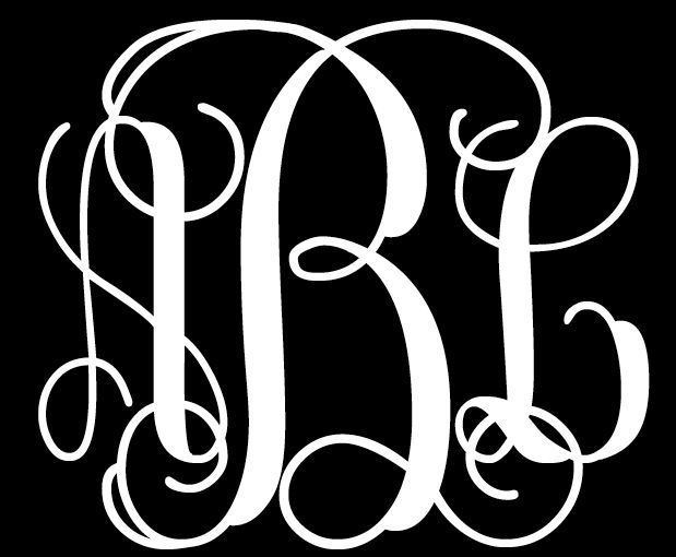 Your 3 initials custom vine monogram decal car window sticker vinyl personalized