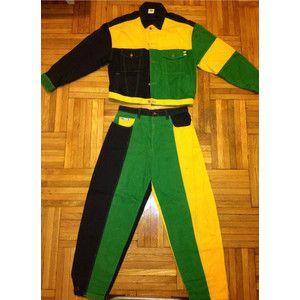 Vintage 90s Rare Cross Colours Denim Jacket And Jean Rasta Color Africa Hip Hop Rap Tupac Fresh Princ Trendy Fashion Outfits 90s Denim Jacket Colourful Outfits
