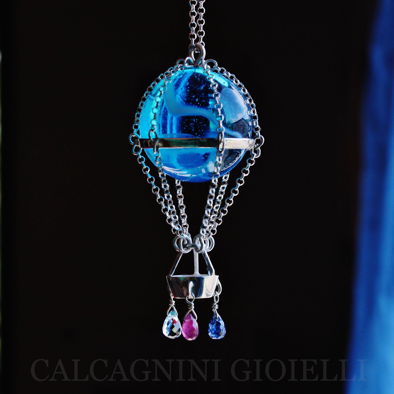 aspetto dettagliato negozio nuovo arrivo HOT AIR BALLOON - pendant in sterling silver with blue glass ...