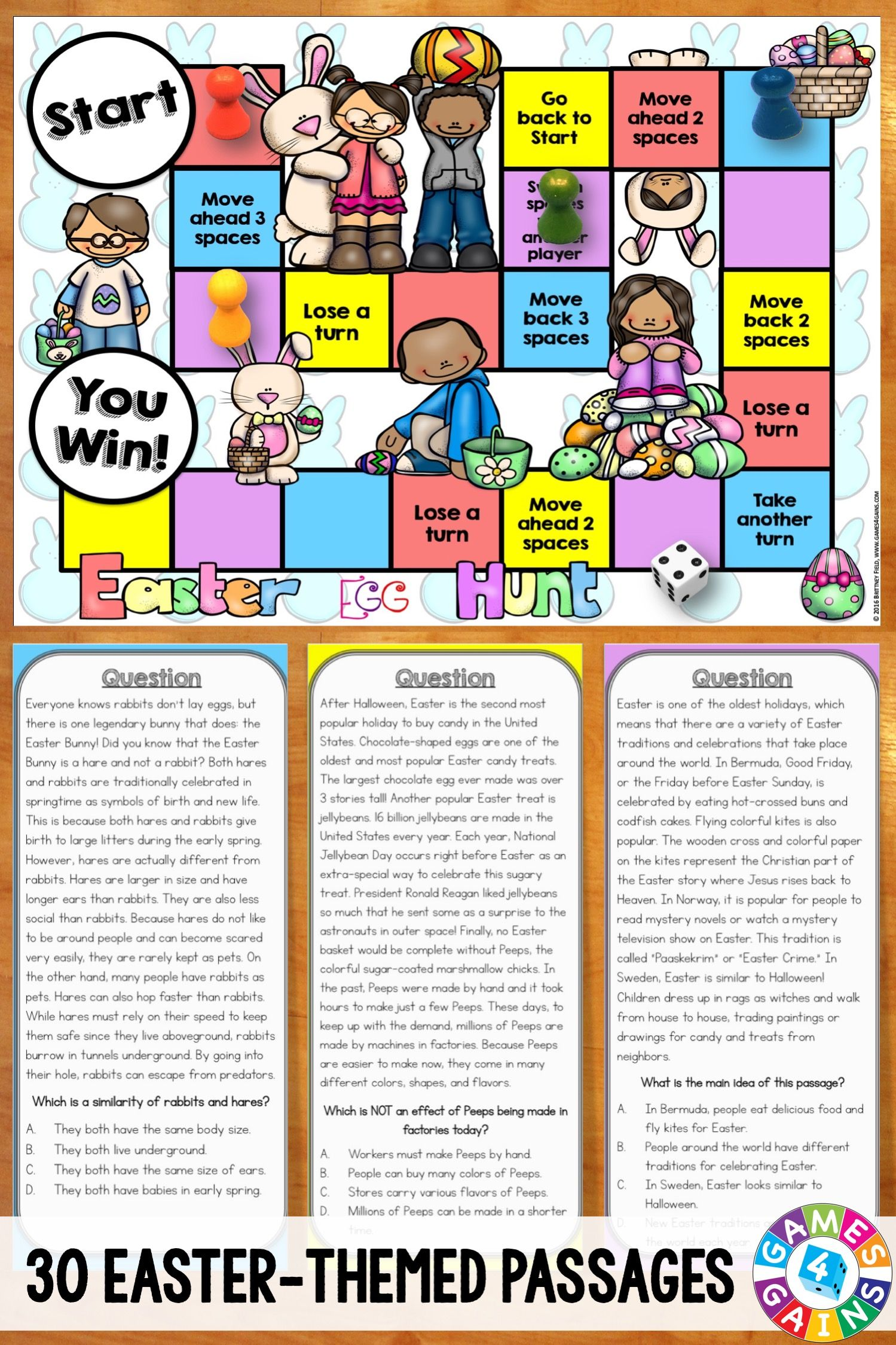 Easter Activity Reading Comprehension Passages