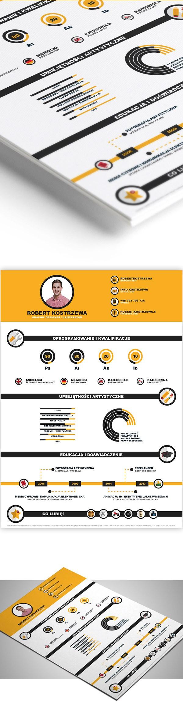 Free Infographic Cv/Resume CV Resume PSD Templates