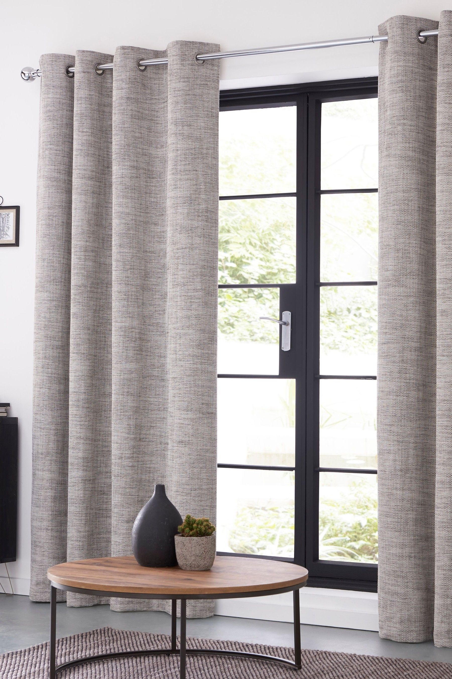 Next Tweedy Twist Eyelet Curtains Brown Curtains Living Room French Curtains Brown And Cream Living Room