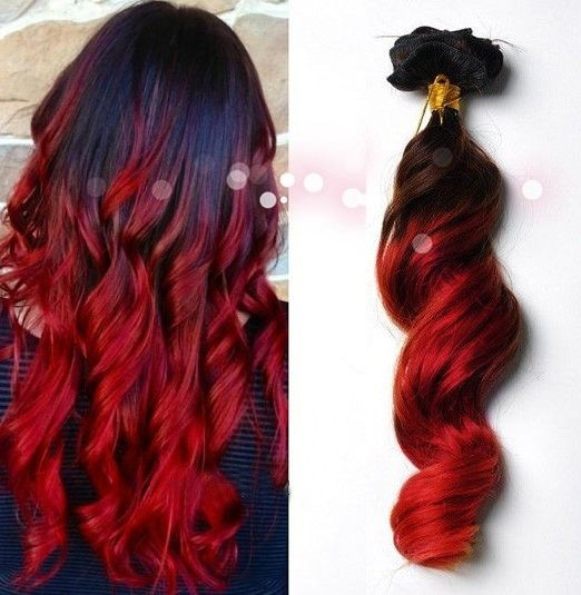 Burgundy ombre hair soooo beautiful burgundyombrehair red dark brown to red dip dye ombre indian remy clip in hair extensions pmusecretfo Gallery