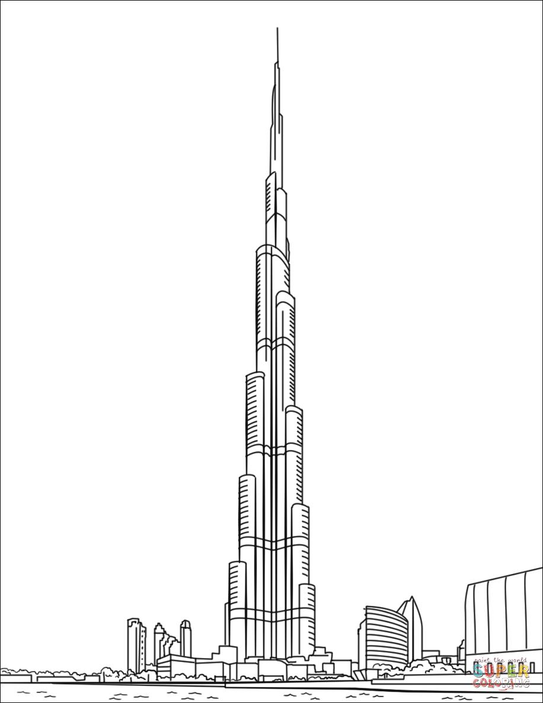 Burj khalifa in dubai super coloring world cultures coloring
