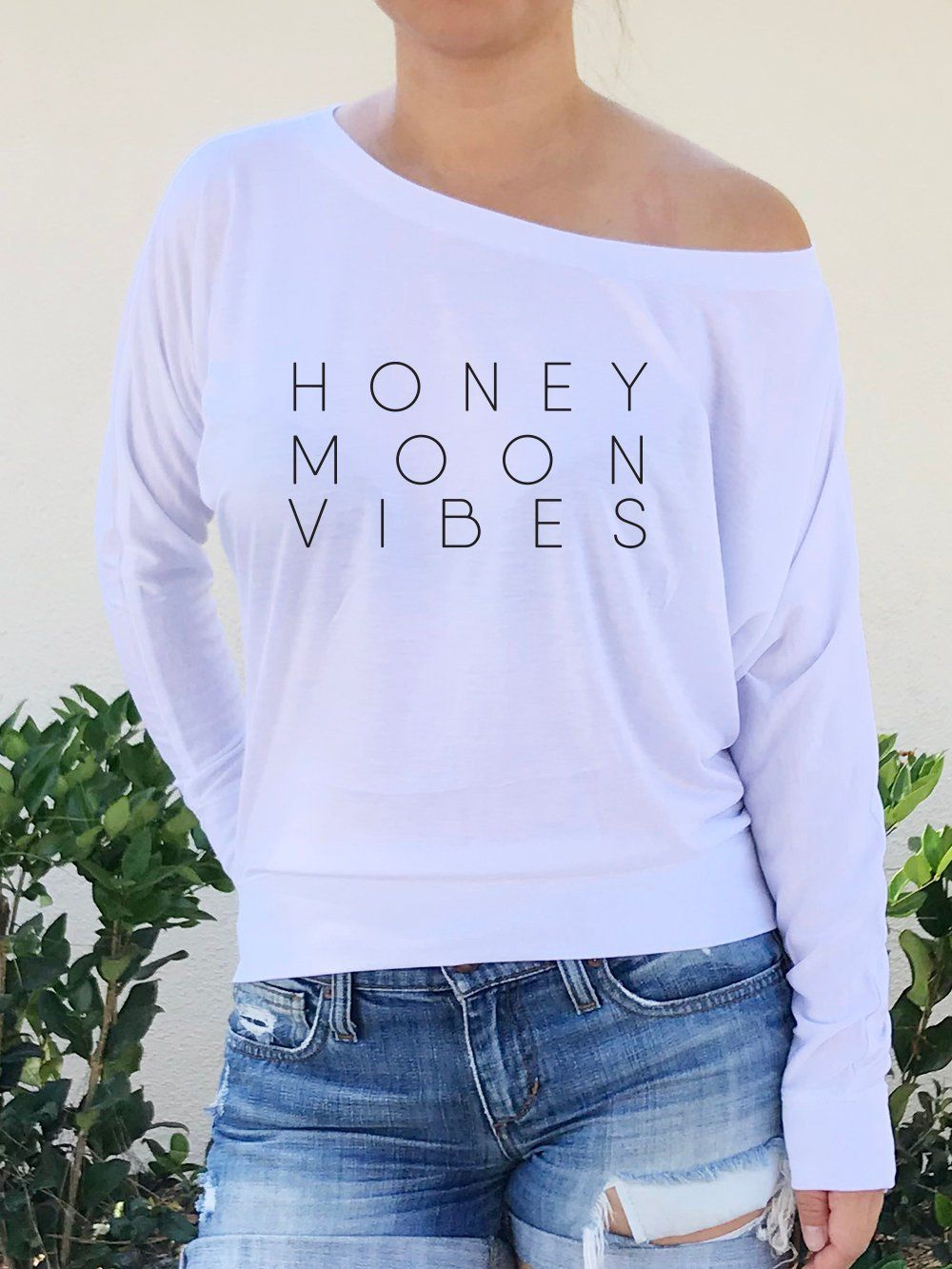4f6a1564d27 Honeymoon Vibes Long Sleeve Off the Shoulder Slouchy Top, Honeymoon, Just  Married, Wedding Gift