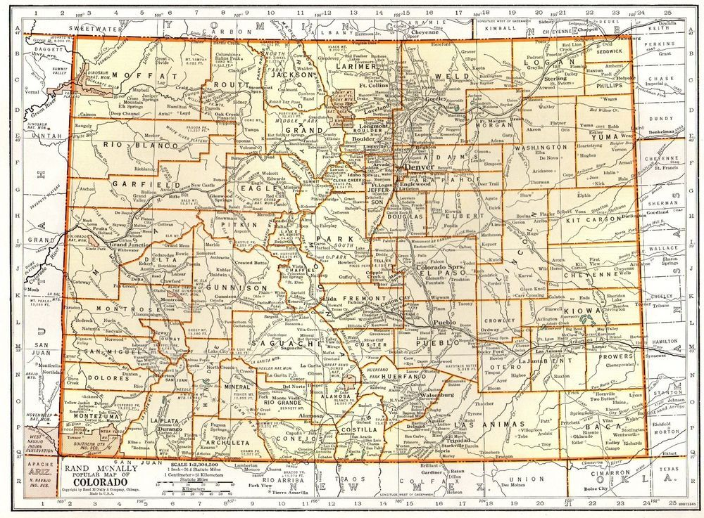 1940 Vintage Colorado Map Antique State Map Of Colorado Gallery Wall Art 5044 Colorado Map Art Gallery Wall Map Of Florida