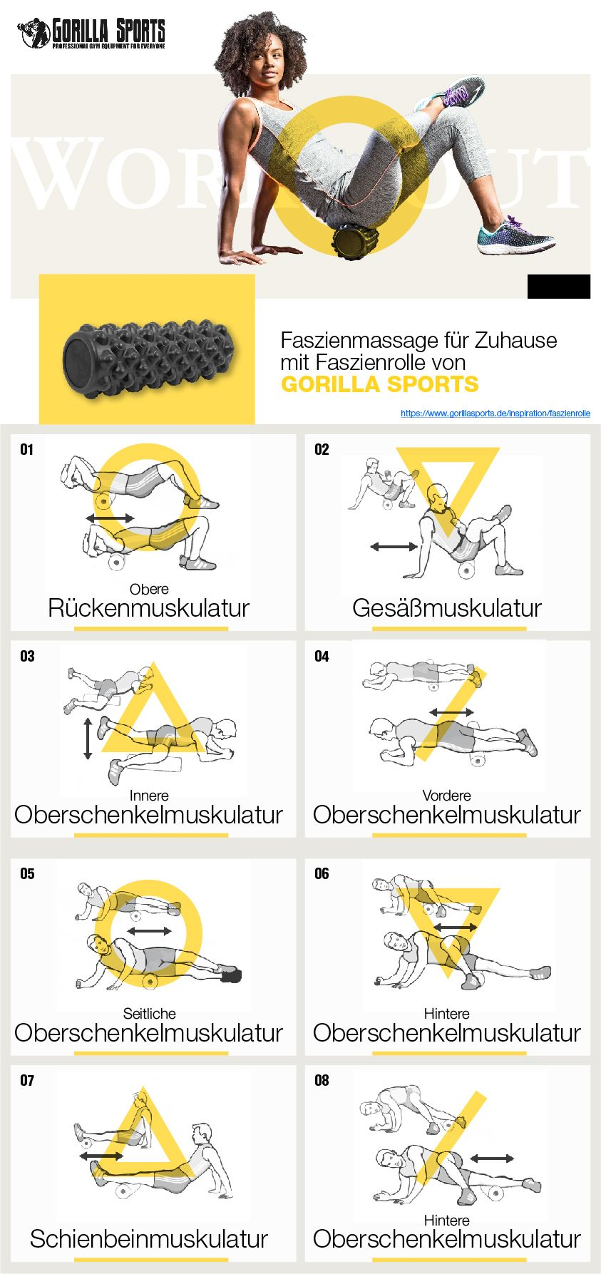 HOME GYM - WORKOUT FASZIENROLLE von GORILLA SPORTS® #pilatesworkoutroutine