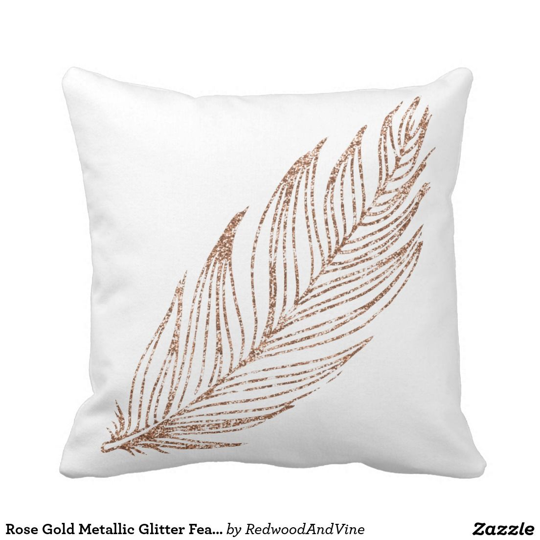 Rose Gold Faux Glitter Feather Throw Pillow Zazzle Com Rose Gold Throw Pillows Rose Gold Pillow Rose Gold Bedroom