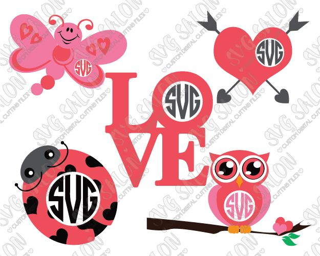 Valentine S Day Monogram Svg Cut File Set Crafts Beauties And