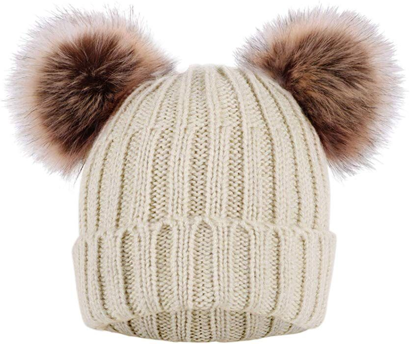 53ce4473ea867 Arctic Paw Cable Knit Beanie with Faux Fur Pompom Ears Beige at Amazon  Women s Clothing store