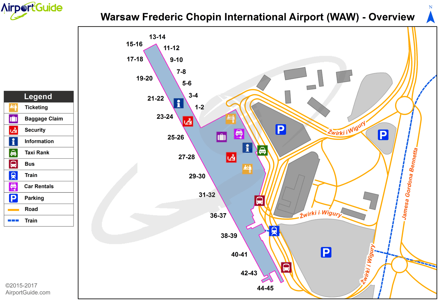 Warsaw - Warsaw Chopin (WAW) Airport Terminal Map - Overview ...