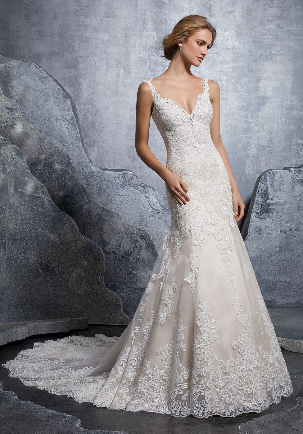 This Mori Lee Bridal 8218 Krystal Fit And Flare Wedding Dress Hangs On Slim Shoulder St Mori Lee Wedding Dress Wedding Dress Styles Fit And Flare Wedding Dress