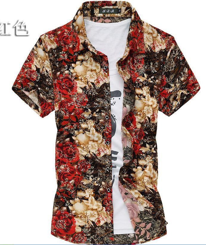 50d541fb772 Click to Buy    Shirt Good quality M-7XL golden floral print shirt men  short sleeve casual men shirt silk cotton 2015 summer camisas hombre   Affiliate