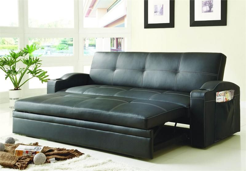 Click Clack Black Futon With Pull Out Bed Novak Collection Style 4803blk Sleeper Sofa Bed