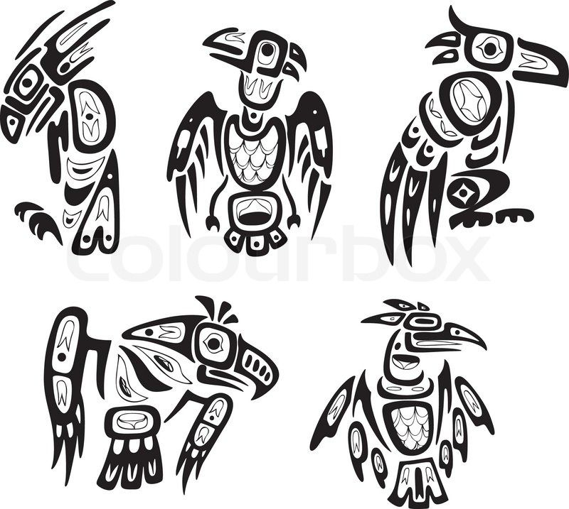 fffc33c31cda9 Stock vector of 'Native indian shoshone tribal drawings. Eagles. Vector  set.'