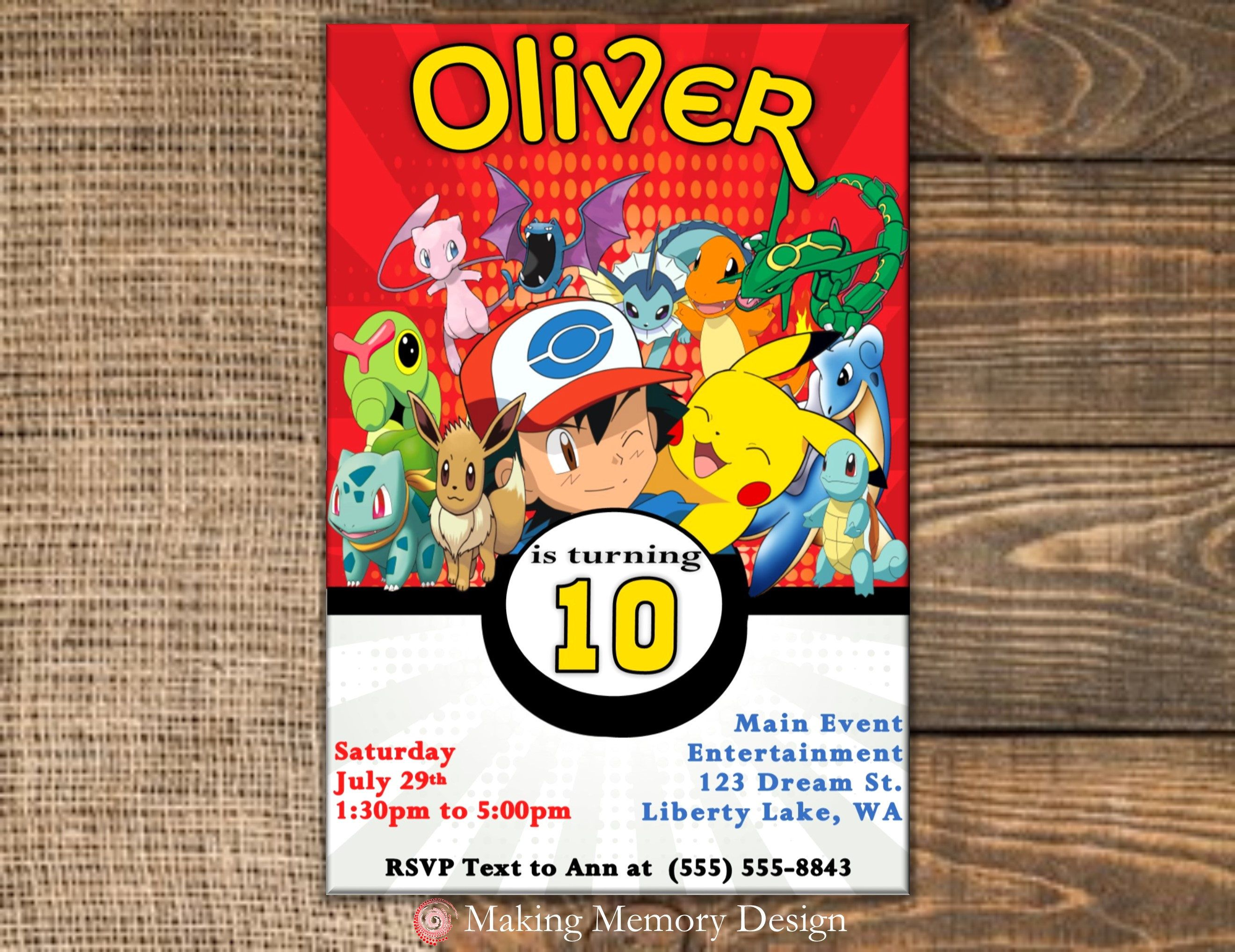 Pokemon Birthday Invitation By MakingMemoryDesign On Etsy