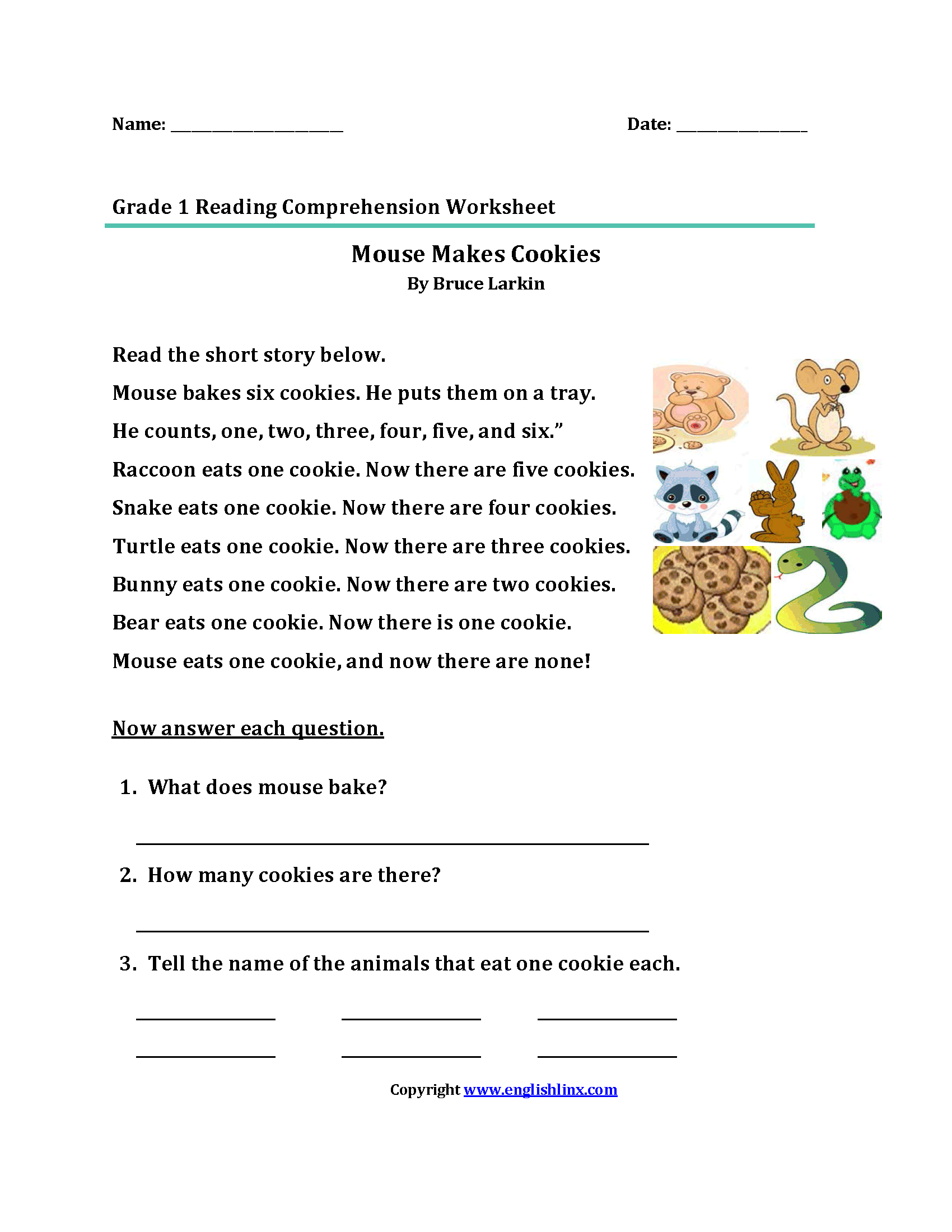 Mouse Cookies\u003cbr\u003eFirst Grade Reading Worksheets   Reading comprehension  worksheets [ 2200 x 1700 Pixel ]