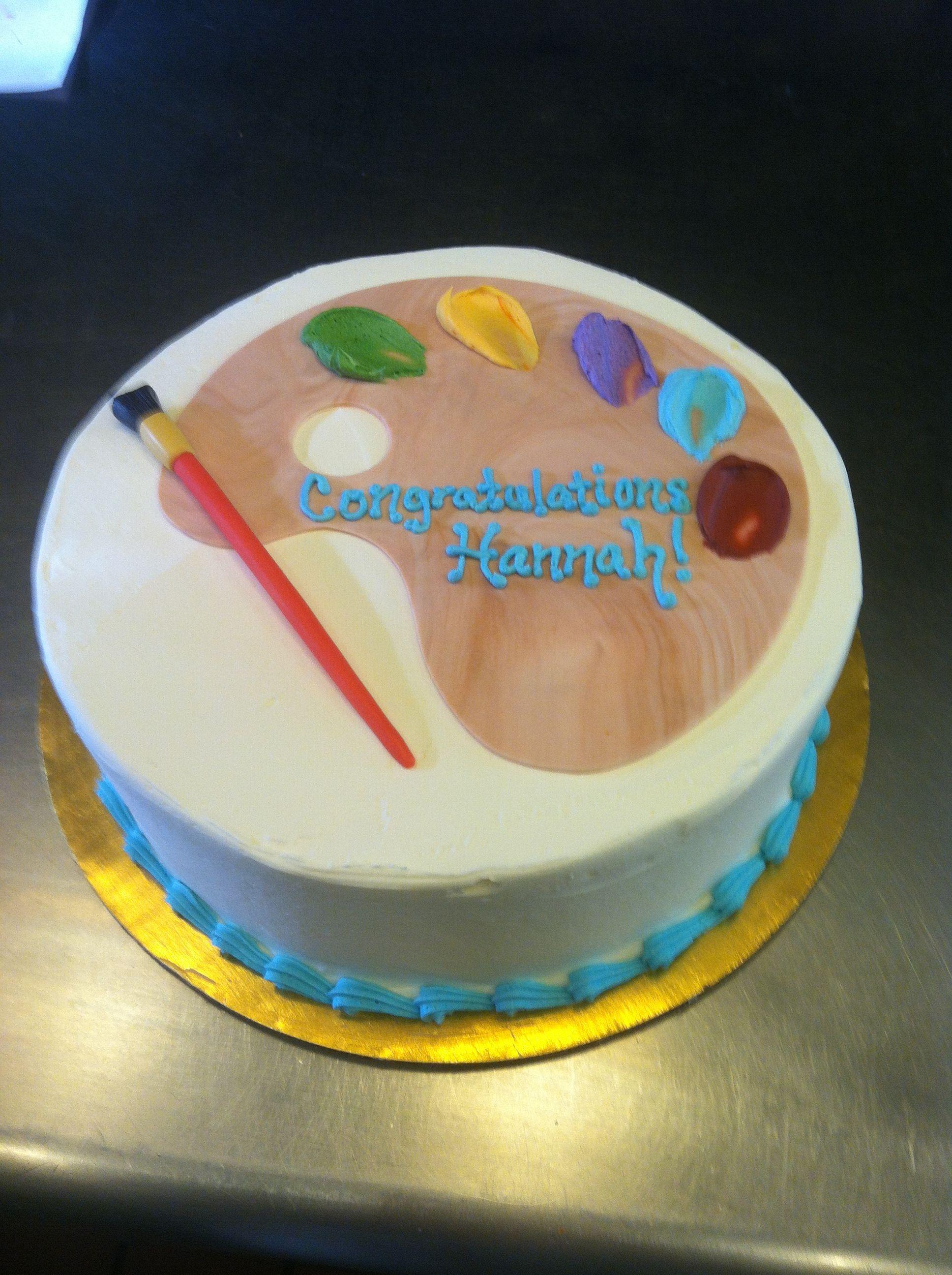 Artist graduation cake. Artists palette with fondant ...