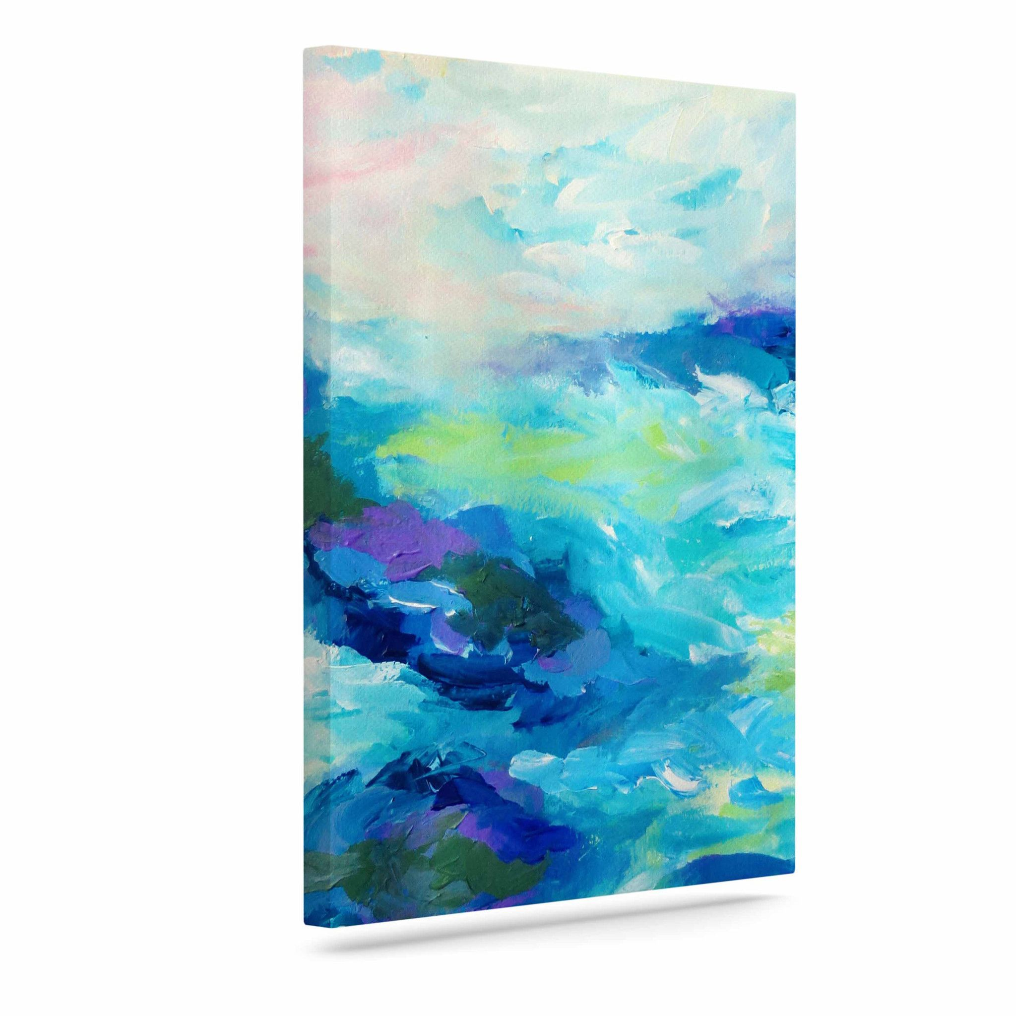 "Ebi Emporium ""Taken By The Undertow"" Green Blue Outdoor Canvas Art"