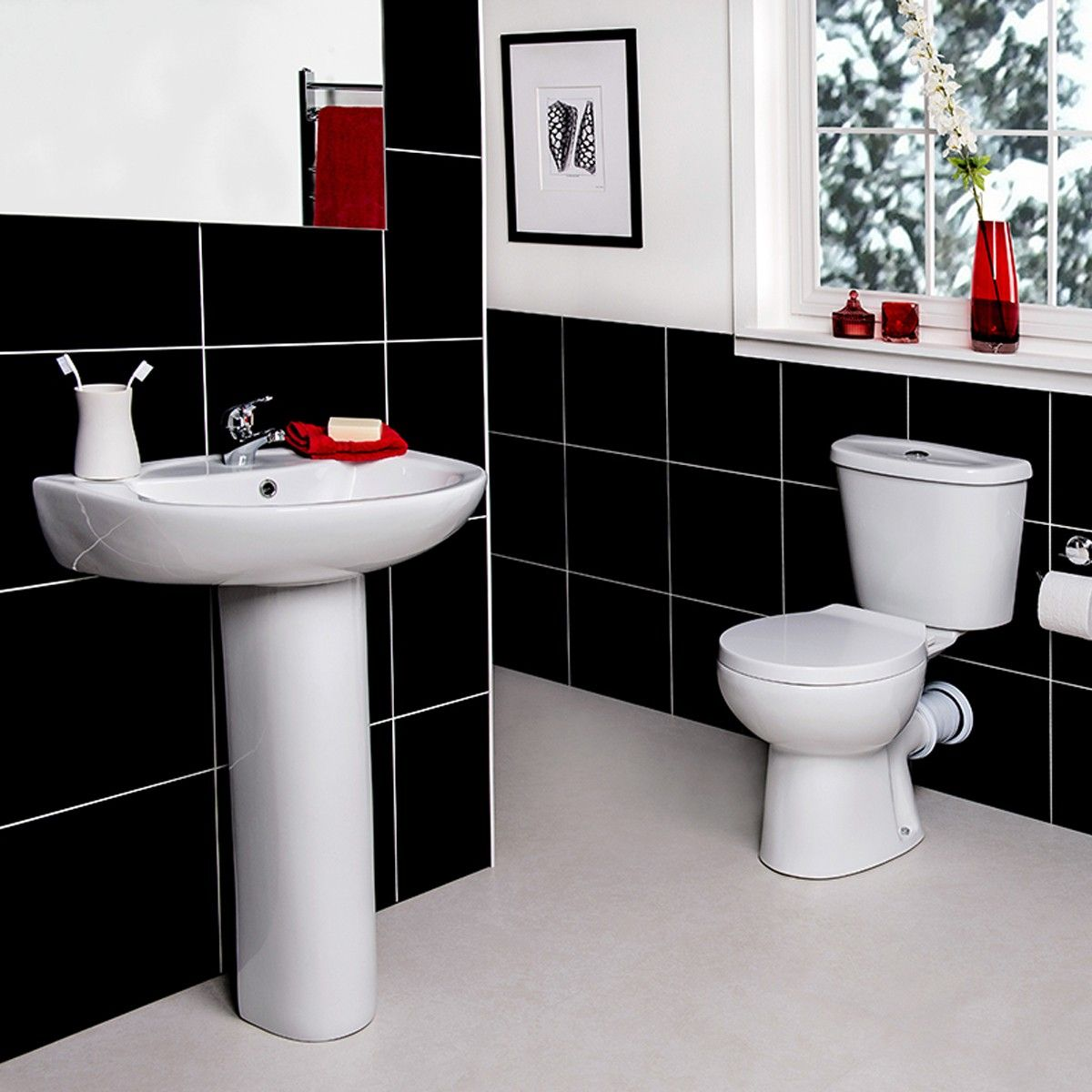 Close Coupled Toilet And Seat Full Pedestal Basin Glazed White - How much to fit a bathroom