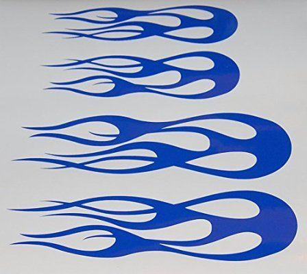 Custom Flame Vinyl Decal Bike Gas Tank Helmet Stickers Blue NEW - Helmet custom vinyl stickers