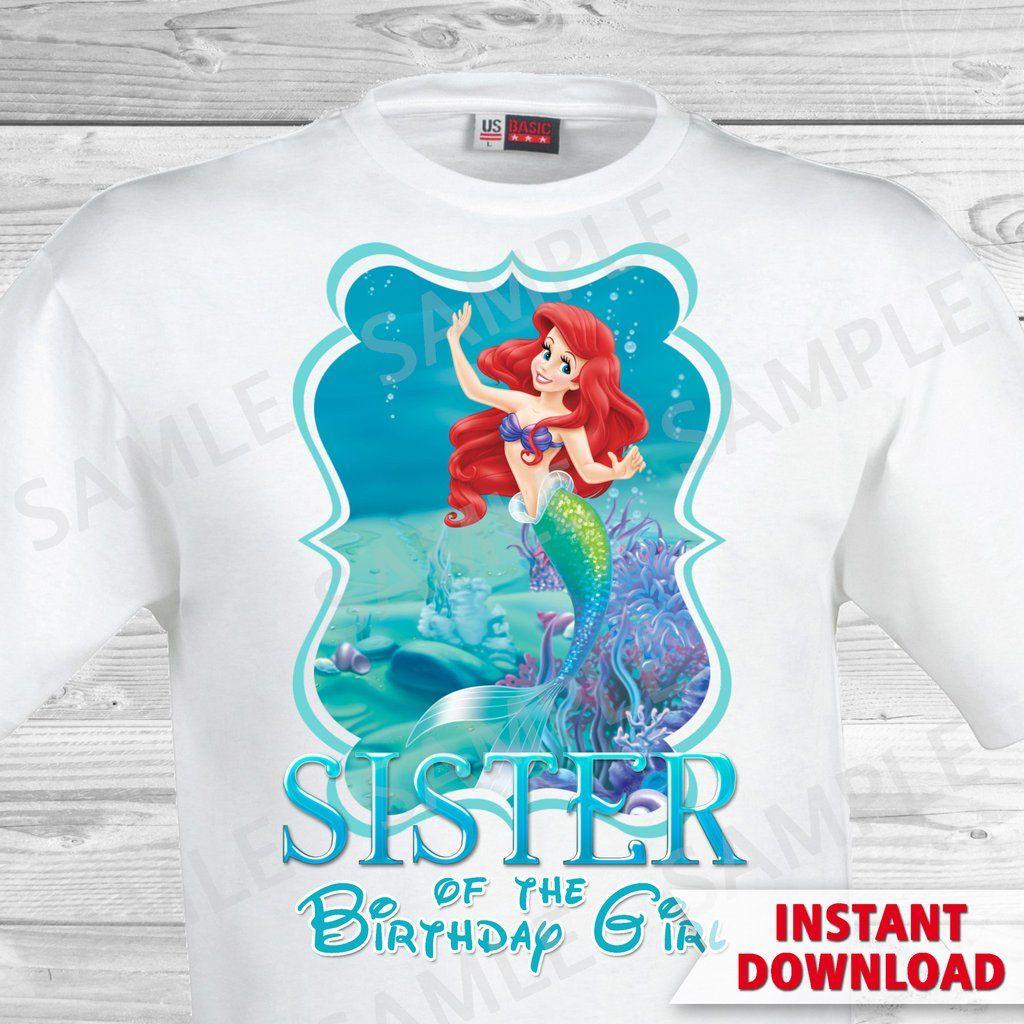 Little mermaid sister of the birthday girl shirt ariel