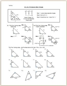 45-45-90 Special Right Triangle - Notes | Special right ...